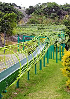 Urasoe Park Rollerslide, Urasoe Okinawa.  A military dependent wrote a book on all the parks her family had discovered in Okinawa.  We hit a good deal of them.  This is a slide.