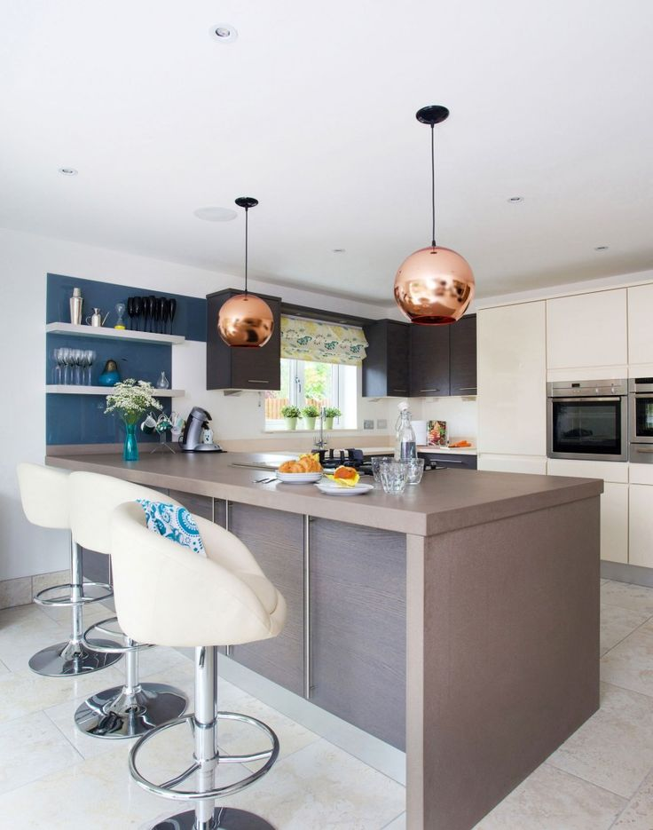 Modern Style Kitchen With Globe Pendant Lights And White Bar Stools   The  Room Edit