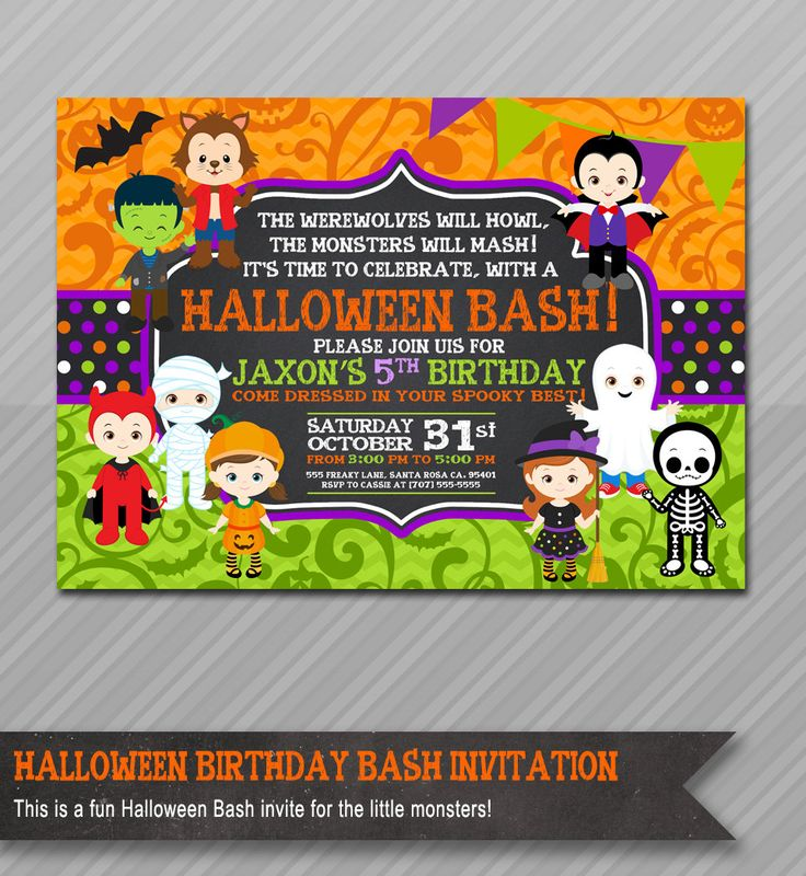 halloween birthday invitation kids halloween party invitation costume party invitation halloween birthday party - Halloween Birthday Party Ideas