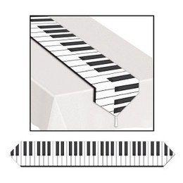 Tafelbanner Piano Design -  Een prachtige decoratie voor op tafel tijdens een muziek of Hollywood themafeest. Afmeting: 27.5 x 180cm.