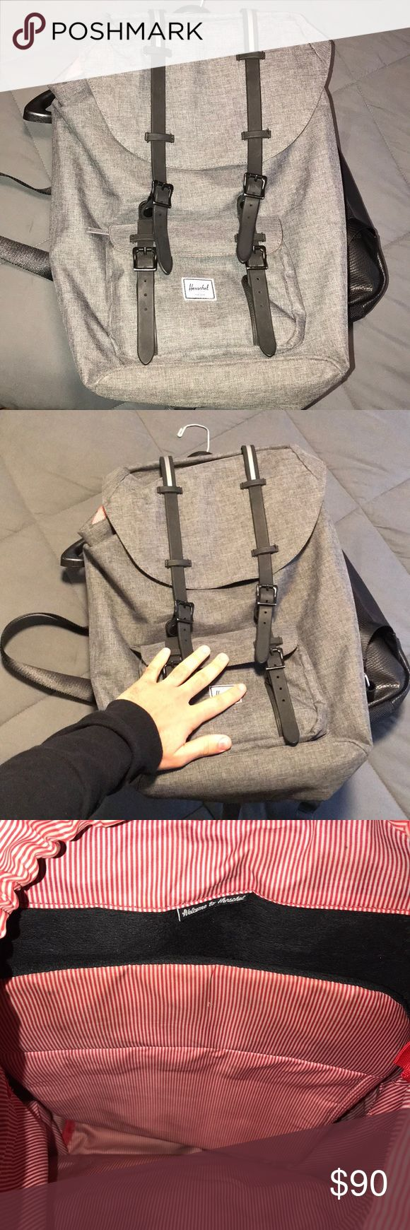 Herschel Backpack Herschel Gray Backpack, only problem is that one of the mini clasps does not hold together, but other side does so a minor defect. Herschel Supply Company Bags Backpacks