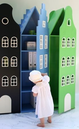 Doll House storage for little girls' room! Cute.