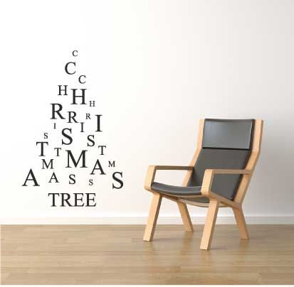 Letters christmas tree large wall window sticker xmas decoration decal