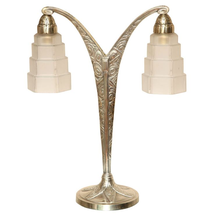 Art deco two armed table lamp from a unique collection of antique and modern