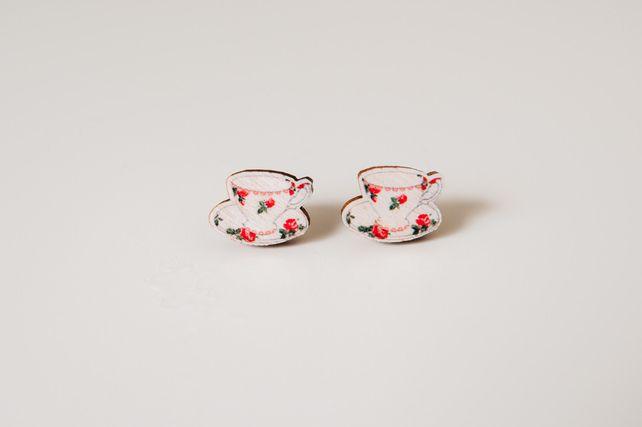 Teacup Wooden Earrings £7.95