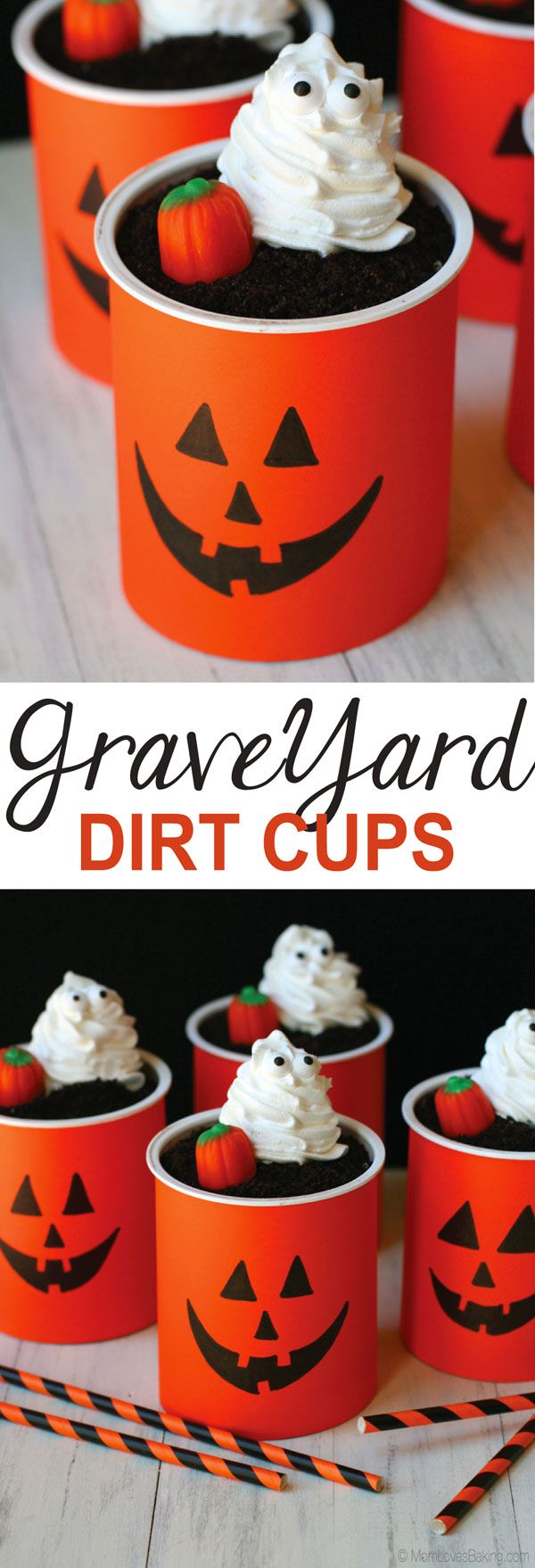 Graveyard Dirt Cups are a fun Halloween treat the kids can make. Get the tutorial on MomLovesBaking.com