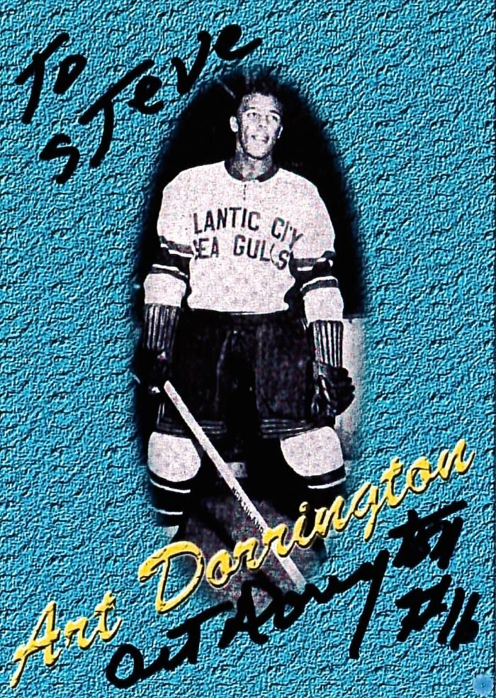 Art Dorrington hockey card. Dorrington was the first black hockey player to sign an NHL contract. Nova Scotia Sport Hall of Fame collection, Halifax.