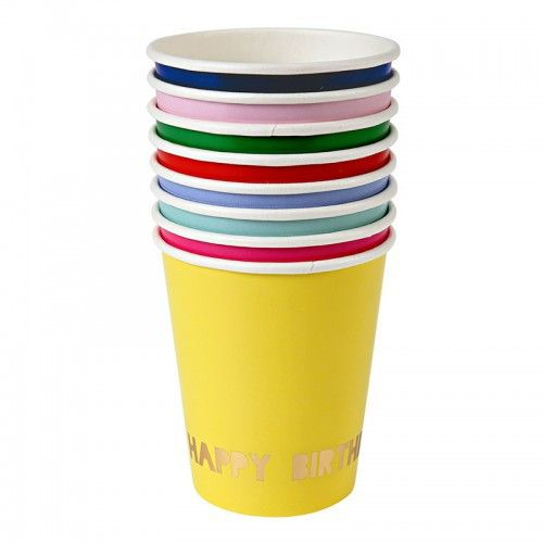 Have a Happy Birthday when you use these fun assorted bright colors 9 ounce paper cups with gold foiling. Pink, red, orange, mint, green, blue, light blue, and