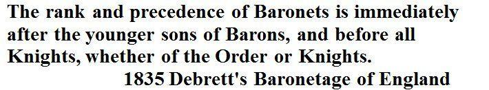The Rank and Precedence of Baronets.     1835 Debrett's Baronetage of England by John Debrett via Google Books (PD-150)  © Suzi Love