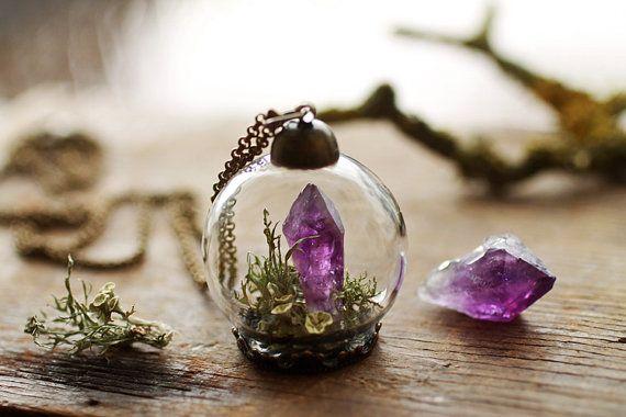 Miniature terrarium necklace , raw Amethyst pendant , long crystal necklace , lichen jewellery , green moss terrarium , glass orb pendant