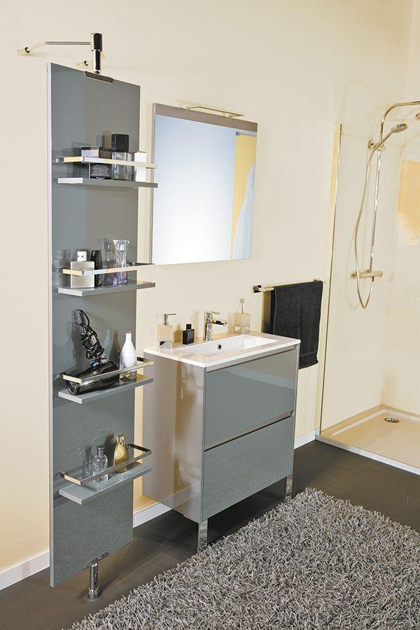 vasque avec colonne Colonne PSYCHÉ, 1 face miroir et 1 face avec 4 tablettes de rangements, l