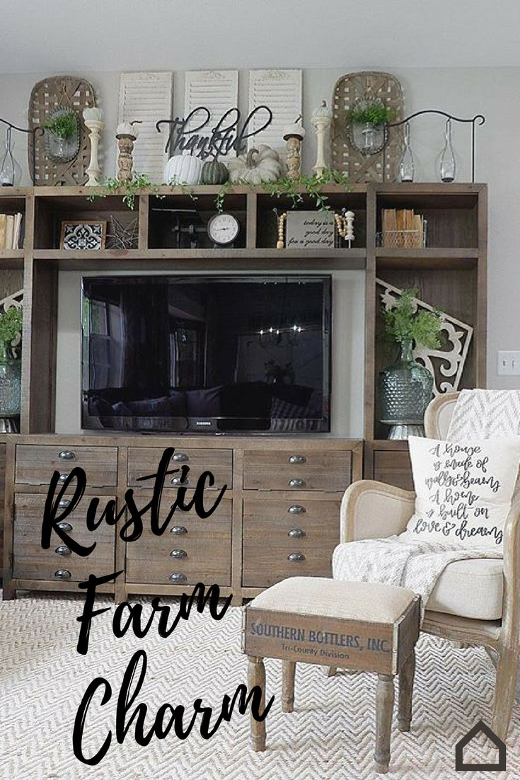 Add #rustic farm charm to your living room with the Keeblen entertainment center. This piece will add eclectic character and retro charm to your farmh…