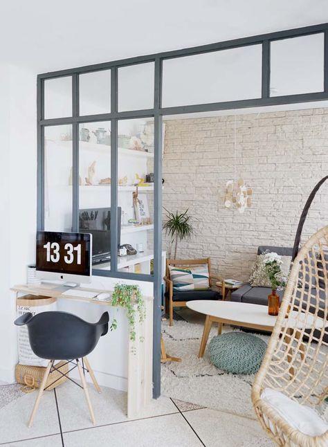 Séparation semi vitrée entre chambre et living
