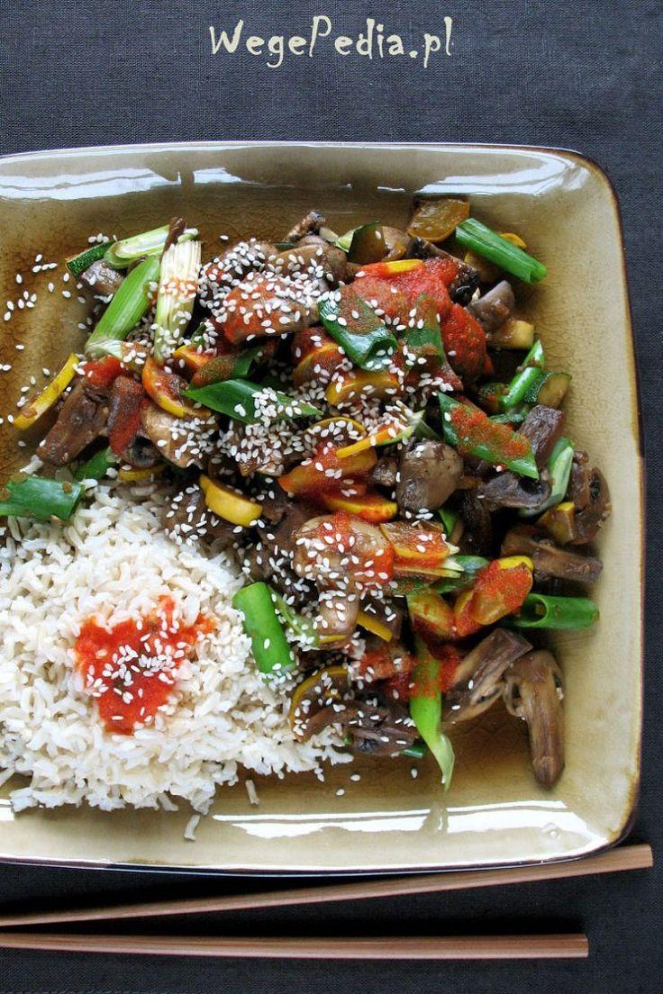 Smażone pieczarki zcukinią pokoreańsku + wegańskie mukbang