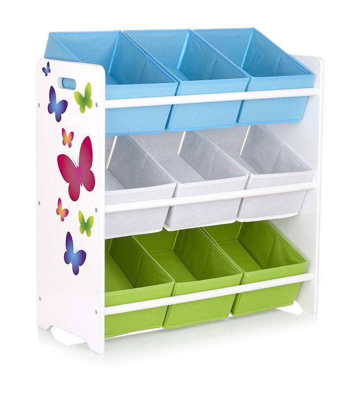 dieses farbenfrohe spielzeugregal bietet viel stauraum f r. Black Bedroom Furniture Sets. Home Design Ideas