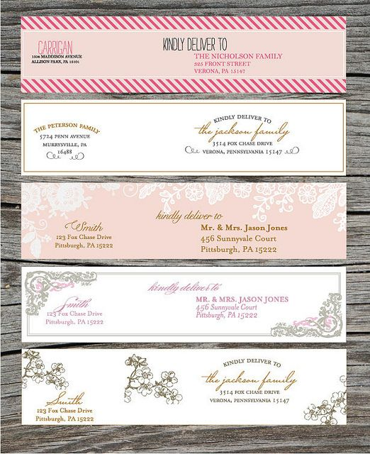 Wrap Around Address Labels - Printable - DIY - For Showers, Weddings, Save the Dates and more by blush printables, via Flickr