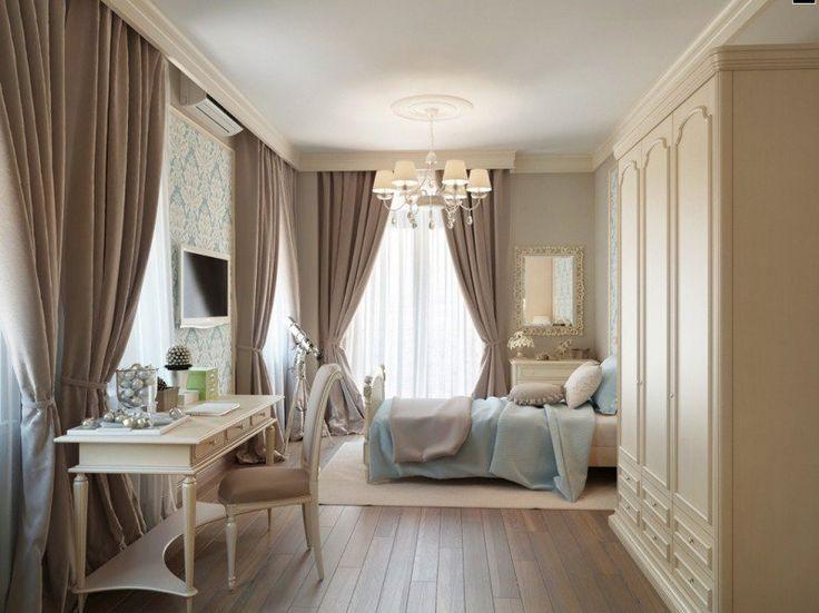 chambre-taupe-mobilier-bois-blanc-rideaux-beige-clair