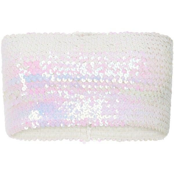 Bundy & Webster - Holographic Sequin Bandeau (55 CAD) ❤ liked on Polyvore featuring tops, white tops, bandeau shirt, sequin sleeve shirt, sequin bandeau top and oversized tops