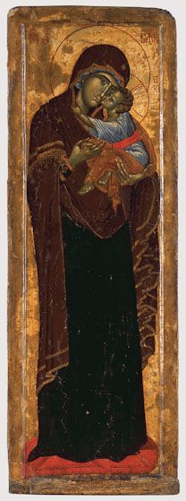 Our Lady of Mercy, c. 1350. Detail. From the iconostasis. Dimensions of entire icon, 64x22 in. Monastery of Dečani