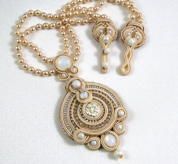 Soutache Pendant / Necklace by BeadsRainbow on Etsy