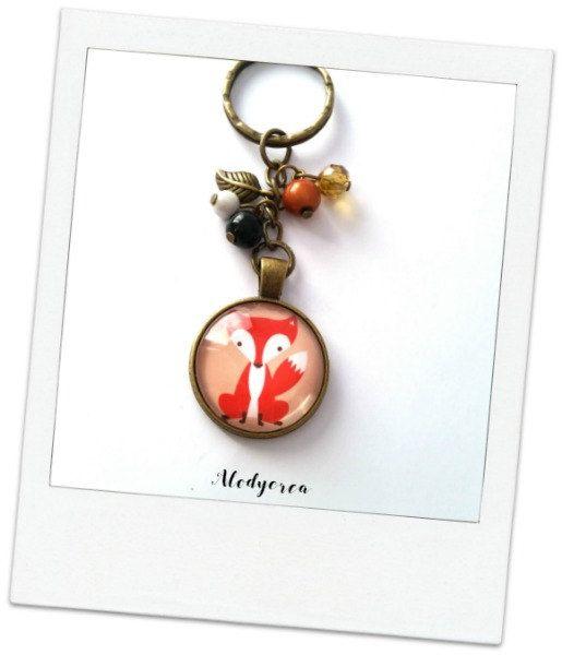 Porte clés  Renard  cabochon  bronze  kawaii par alodycrea sur Etsy - fox - foxes - renard - keychain