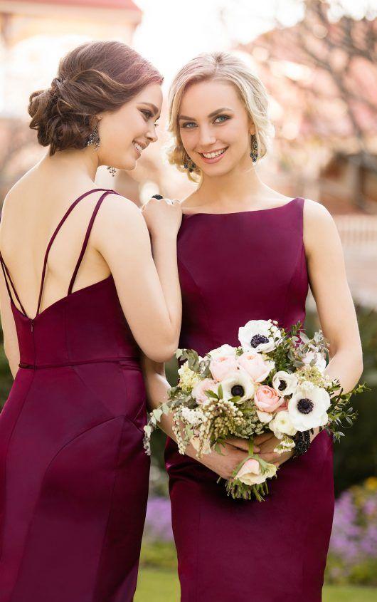 8918 Classic Burgundy Satin Bridesmaid Dress by Sorella Vita