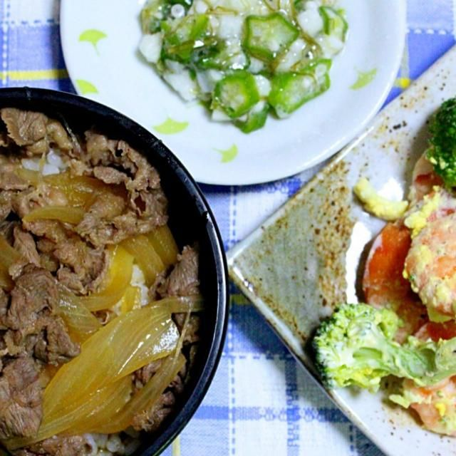 久しぶりの牛丼美味しかった。エビが沢山食べられ幸せ。 - 59件のもぐもぐ - 牛丼  エビとブロッコリーと玉子のマヨネーズ和え    オクラと長芋の和物 by Hiroshi  Kimura
