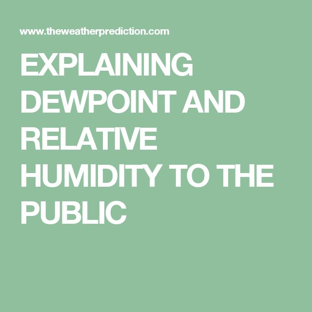 EXPLAINING DEWPOINT AND RELATIVE HUMIDITY TO THE PUBLIC