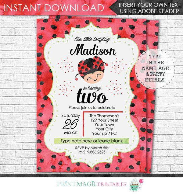 Ladybug Birthday Invitation - Ladybug Invitation - Watercolor Ladybug Invitation - Ladybug Party - Download & Personalize in Adobe Reader by printmagic on Etsy https://www.etsy.com/listing/473570097/ladybug-birthday-invitation-ladybug