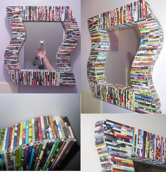 Recycled magazine mirror made with rolled pages glued on with cardboard backing.