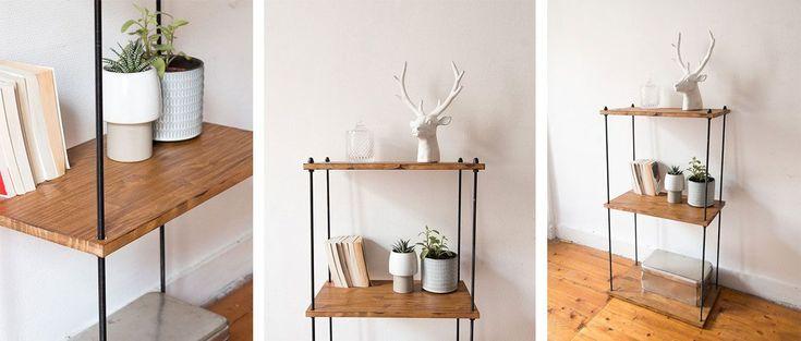 DIY - Cette étagère facile à réaliser est parfaite pour donner à votre intérieur une déco industrielle. Pratique, elle se fabrique en moins de 2 heures !