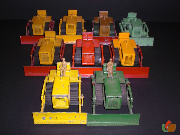 Group of 8 different Lesney Bulldozer`s Early Lesney Toys large scale Caterpillar Bulldozer in differns Colours.