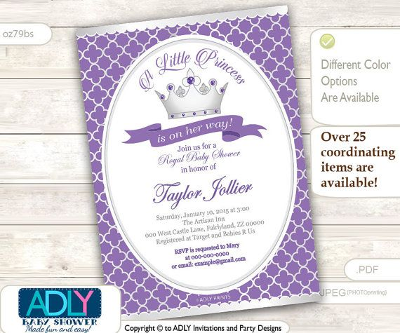 Silver Purple Princess Invitation for Royal by aoprintablesforkids