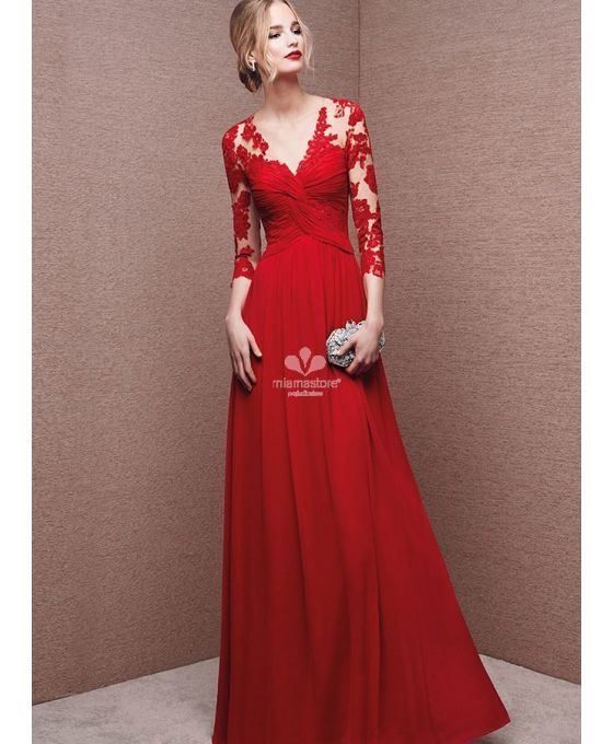 Evening dresses Fast delivery dresses A-line Floor length Organza Tulle Lace V-neck Occasion dress