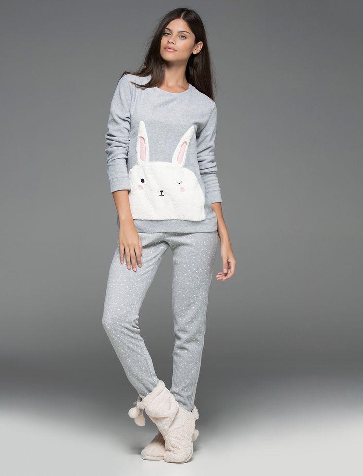 Womensecret. Pijamas Pijama largo polar de conejito