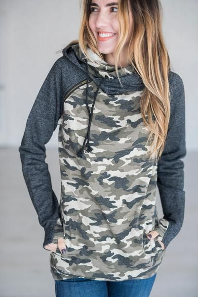 *Exclusive Double Hooded Sweatshirt - Camo Accent