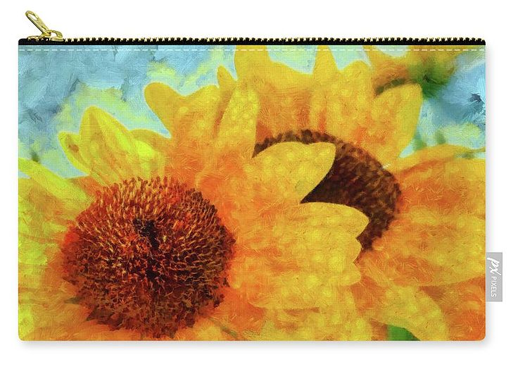 Sunflower Carry-all Pouch featuring the painting Sunflowers by Grigorios Moraitis