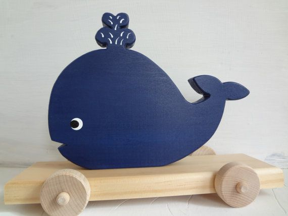 Wood Toy Whale Pull Toy Navy Blue Eco Friendly