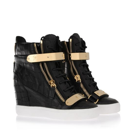 """Giuseppe Zanotti Womens Sneakers is a Black crocodile print and calfskin high-top sneaker with inner wedge illuminated by gold plates and zip on the side.  This is what I think of when I hear the word """"urban."""""""