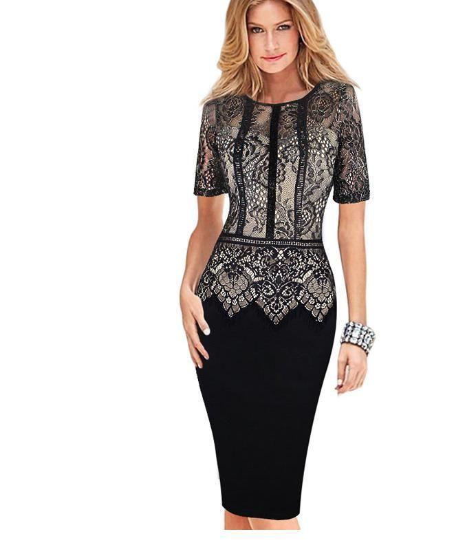 1e4c916ae6 Womens Elegant Dress Special Occasion Vestidos Patchwork Lace Casual ...