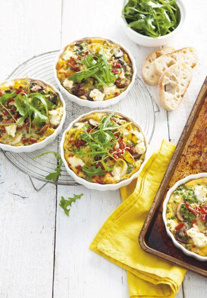 Recept voor frittata met erwtjes, champignons en spek