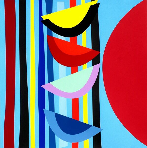 Vertical Rhythms by Sir Terry Frost (1915- 2003) was an English artist, based in Cornwall and was noted for his abstracts. In 1992, he was elected a Royal Academician and he was knighted in 2000.