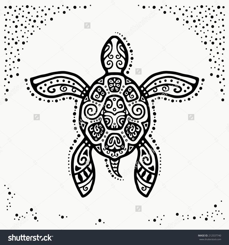 Decorative graphic turtle tattoo style tribal totem animal ornamental