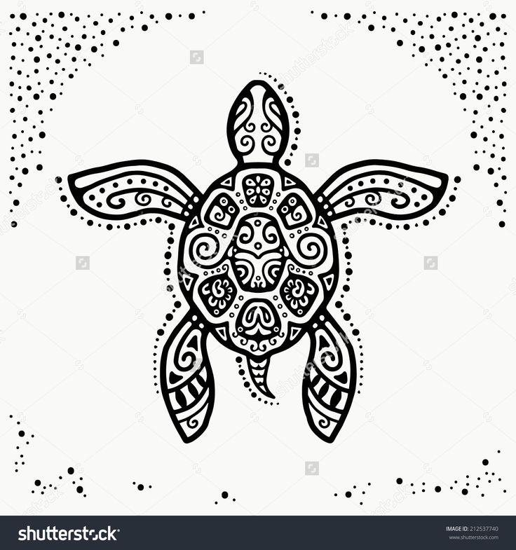Decorative graphic turtle, tattoo style, tribal totem animal, ornamental pattern, vector illustration