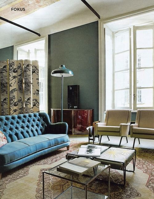 soft moss green, sapphire blue, cream, tan, white :: Dimore Studio.
