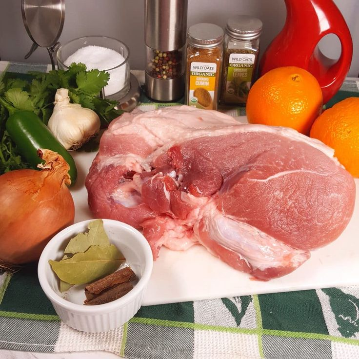 Cast of Ingredients for Pressure Cooker Pork Carnitas {Mexican Pulled Pork} Image