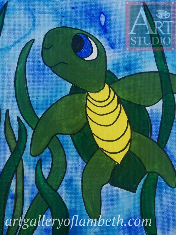 Baby Turtle - one of many paintings London, Ontario Kids can learn to paint at the #AGLArtStudio #ldnont #Kids #Art #Painting #Birthday #Parties Register at http://artgalleryoflambeth.com/new-calendar-events-page/