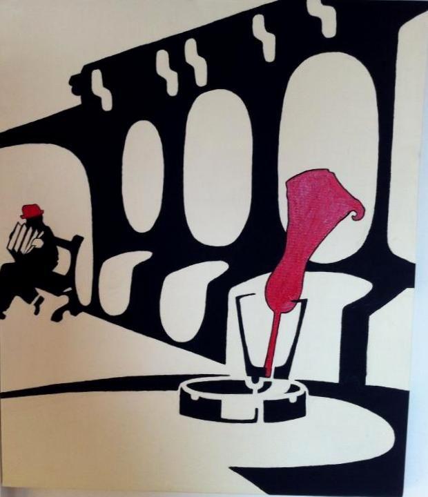Accordion Paris. 50X60cm, Acrylic on canvas.