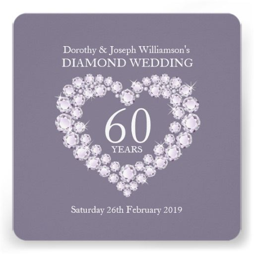 Diamond wedding diamonds heart 60 party invite designed by www.sarahtrett.com