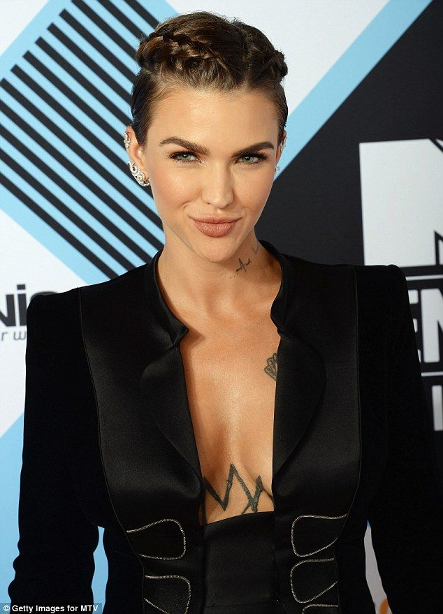 Dressed to impress: Ruby Rose showed off her impressive cleavage in a plunging suit as she arrived ready to host the MTV EMA awards on Sunday night